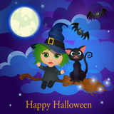 Witch and cat flying on a broom under the moon Royalty Free Stock Photography