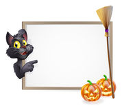 Witch Cat Halloween Sign. Illustration of a Halloween black witch's cat sign background Stock Photo