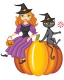 Witch and a cat sitting on a pumpkin Stock Photos
