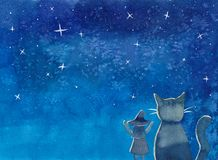 Witch and Cat under Blue Galaxy Night Sky Watercolor. Illustration Background vector illustration