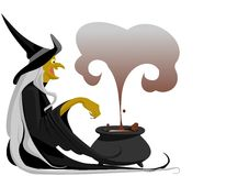 Witch with cauldron. The old good witch with cauldron Stock Photo