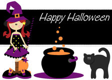 Witch Cauldron Black Cat Halloween Royalty Free Stock Photography