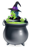 Witch and Cauldron Cartoon Stock Photos