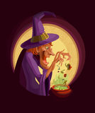 A witch with a cauldron. Cooking witch poison or potion in a cauldron. Ingredients rash. 