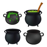 Witch cauldron empty and with green potion, bubbling witches brew set. Realistic Vector illustration isolated on white background. Stock Image