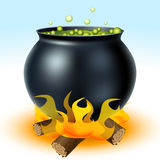 Witch cauldron on fire Royalty Free Stock Images