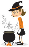 Witch and cauldron Royalty Free Stock Photo