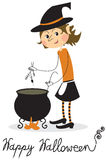 Witch and cauldron Royalty Free Stock Image