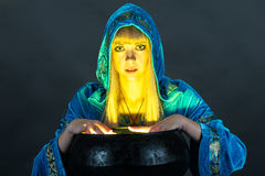 Witch with cauldron Royalty Free Stock Images