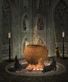 Witch cauldron' s room. Dark room with witch cauldron Stock Photo