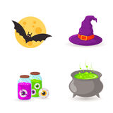 Witch cauldron and symbols. stock illustration