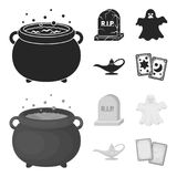 A witch cauldron, a tombstone, a ghost, a gin lamp.Black and white magic set collection icons in black,monochrome style royalty free illustration