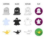 A witch cauldron, a tombstone, a ghost, a gin lamp.Black and white magic set collection icons in cartoon,black,outline vector illustration