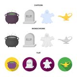 A witch cauldron, a tombstone, a ghost, a gin lamp.Black and white magic set collection icons in cartoon,flat,monochrome vector illustration