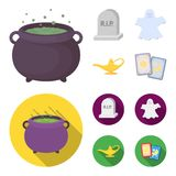 A witch cauldron, a tombstone, a ghost, a gin lamp.Black and white magic set collection icons in cartoon,flat style royalty free illustration