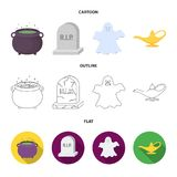 A witch cauldron, a tombstone, a ghost, a gin lamp.Black and white magic set collection icons in cartoon,outline,flat vector illustration