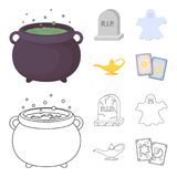 A witch cauldron, a tombstone, a ghost, a gin lamp.Black and white magic set collection icons in cartoon,outline style. Vector symbol stock illustration Stock Images