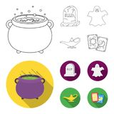 A witch cauldron, a tombstone, a ghost, a gin lamp.Black and white magic set collection icons in outline,flat style. Vector symbol stock illustration stock illustration