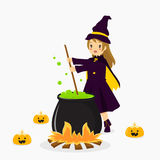 Witch and Cauldron Vector. Witch stirring potion on a black cauldron vector Royalty Free Stock Photo