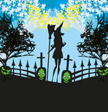 witch  and cemetery Royalty Free Stock Image