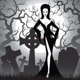 Witch on cemetery Royalty Free Stock Photo