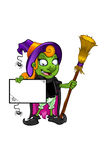 Witch Character - holding a board with cobwebs Royalty Free Stock Image
