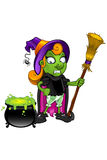 Witch Character - looking at cauldron unsure. A cartoon illustration of a witch Stock Photos