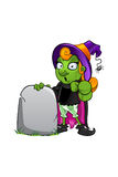 Witch Character - pointing forward with gravestone Royalty Free Stock Photography