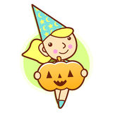 Witch character and pumpkin. Work and Job Character Design Serie Stock Image