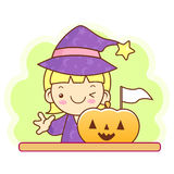 Witch character and pumpkin. Work and Job Character Design Serie Stock Photography