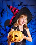 Witch child at Halloween party. Happy witch child at Halloween party Stock Photography