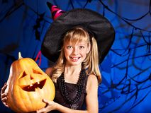 Witch child at Halloween party. Stock Photography