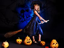 Witch child at Halloween party. Stock Images