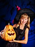 Witch child at Halloween party. Stock Photos