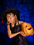 Witch child at Halloween party Royalty Free Stock Image