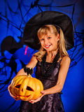 Witch child at Halloween party Royalty Free Stock Images