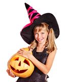 Witch children at Halloween party. Happy witch children at Halloween party Royalty Free Stock Photos