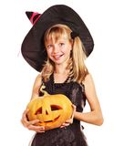 Witch children at Halloween party. Happy witch children at Halloween party Stock Photo