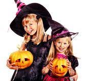 Witch children at Halloween party. Royalty Free Stock Photos