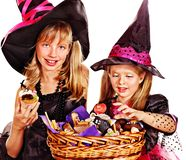 Witch children at Halloween party. Happy group witch children at Halloween party Royalty Free Stock Image