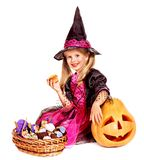 Witch children at Halloween party. Happy group witch children at Halloween party. Isolated Royalty Free Stock Images