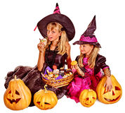 Witch children at Halloween party Royalty Free Stock Images