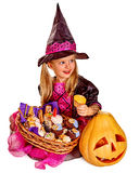 Witch children at Halloween party Royalty Free Stock Photos
