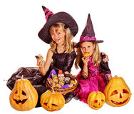 Witch children at Halloween party Stock Photos