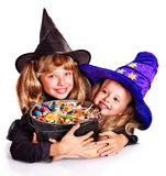 Witch  children with trick or treat. Witch little girl  with trick or treat. Halloween Stock Images
