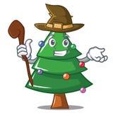 Witch Christmas tree character cartoon. Vector illustration Stock Photos