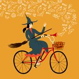 Witch on city bicycle. Vector illustration with witch on city bicycle with pumpkin in basket and doodle halloween drawings. Halloween illustration Stock Photo