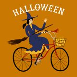 Witch on city bicycle. Vector illustration with witch on city bicycle with pumpkin in basket. Halloween illustration Royalty Free Stock Images