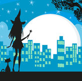 Witch in the city Stock Photos