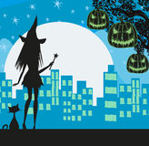Witch in the city Royalty Free Stock Images